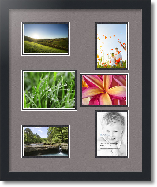 18x22 Satin Black Collage Picture Frame 6 Opening Pewter