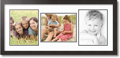 (2) 8x10 , (1) 10x8 Espresso Super White Collage Picture frame