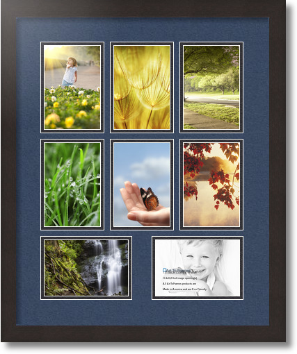 18x22 Coffee Collage Picture Frame 8 Opening Midnight Blue