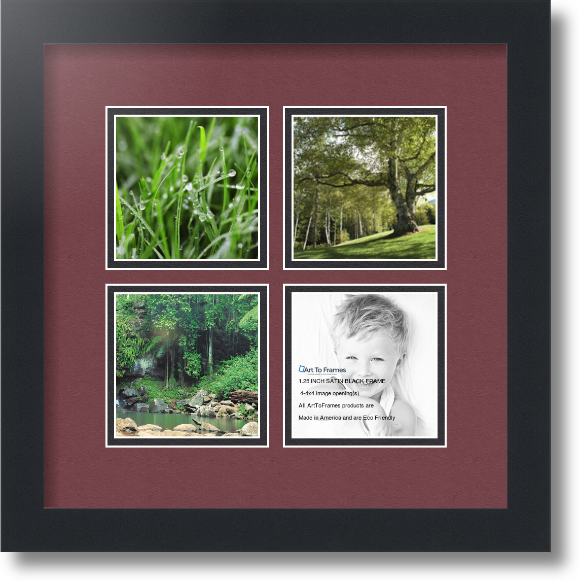 ArtToFrames Collage Mat Picture Photo Frame - 4 4x4\