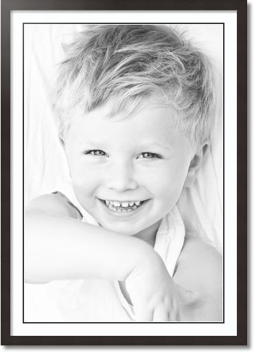 28x40 Espresso collage picture frame 1 opening Super White and Black mat