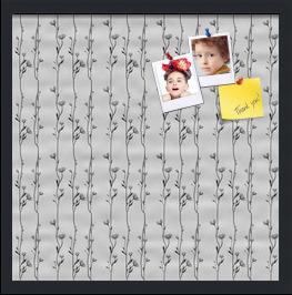 Floral Design Black  Flower Vines Custom cork board preview 20x20